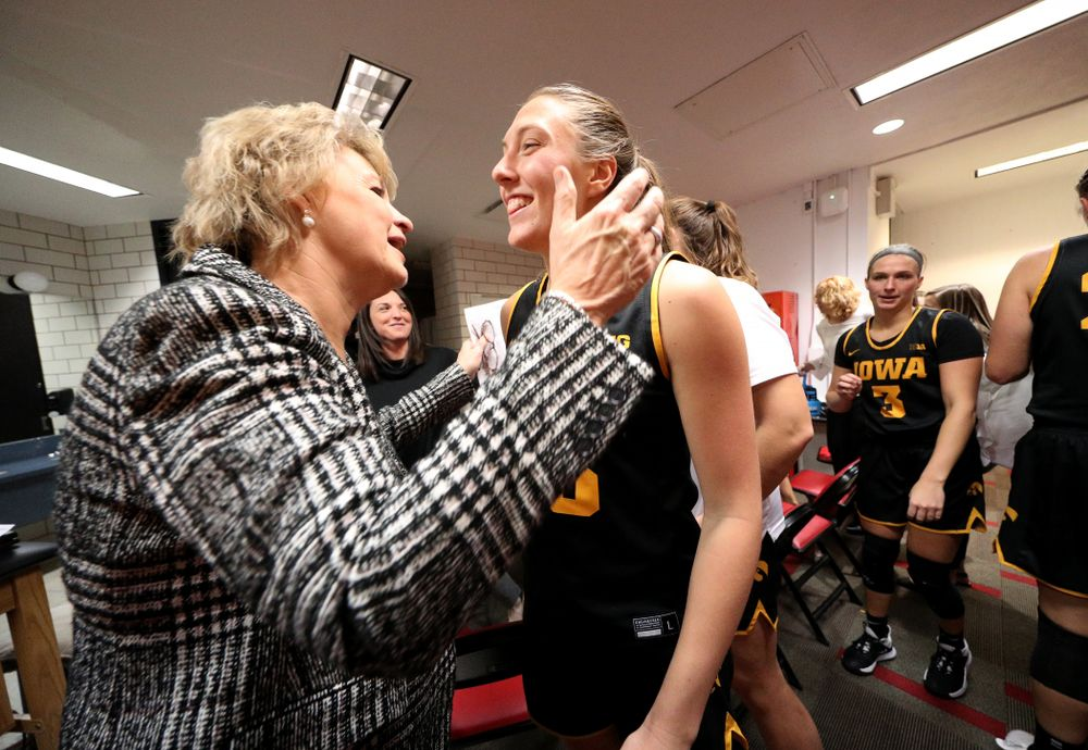 Iowa Hawkeyes forward Amanda Ollinger (43) and head coach Lisa Bluder against the Iowa State Cyclones Wednesday, December 11, 2019 at Hilton Coliseum in Ames, Iowa(Brian Ray/hawkeyesports.com)