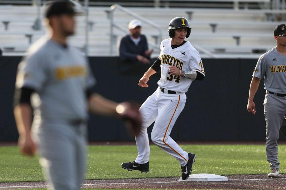 Iowa catcher Austin Martin  at baseball vs Milwaukee on Tuesday, April 23, 2019 at Duane Banks Field. (Lily Smith/hawkeyesports.com)