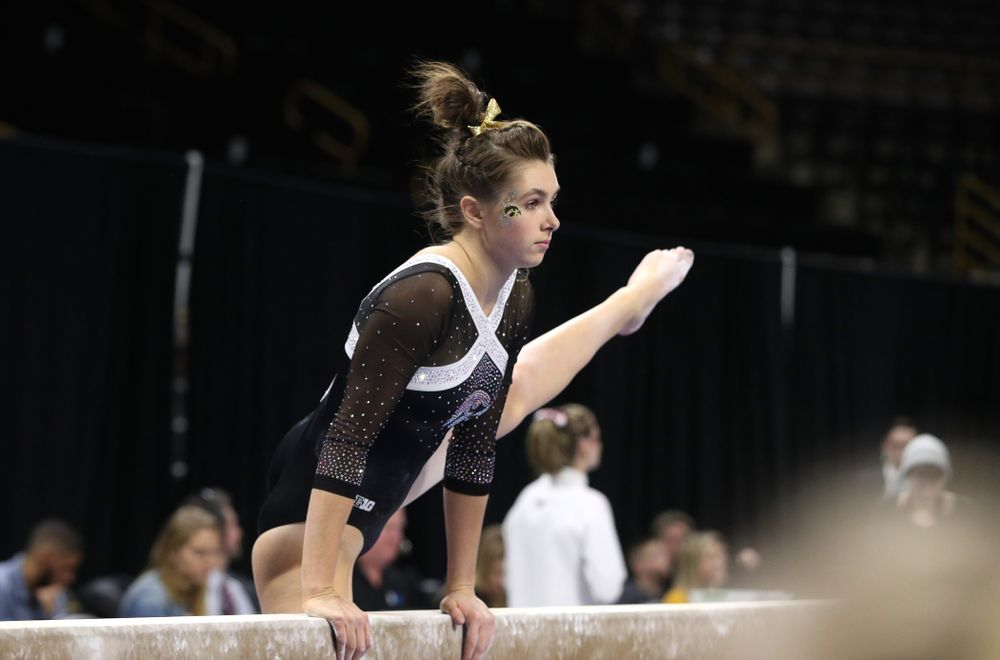 Iowa's Bridget Killian competes on the beam against the Rutgers Scarlet Knights Saturday, January 26, 2019 at Carver-Hawkeye Arena. (Brian Ray/hawkeyesports.com)