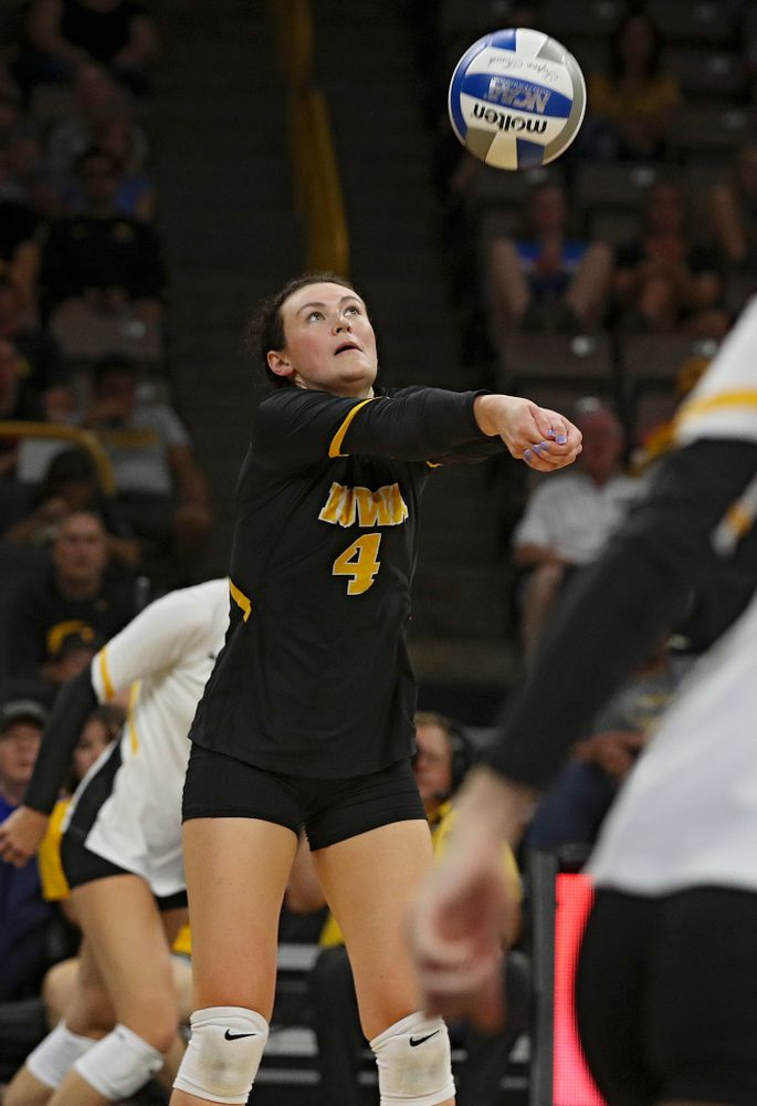 Iowa's Halle Johnston (4) eyes the ball during their Big Ten/Pac-12 Challenge match at Carver-Hawkeye Arena in Iowa City on Saturday, Sep 7, 2019. (Stephen Mally/hawkeyesports.com)