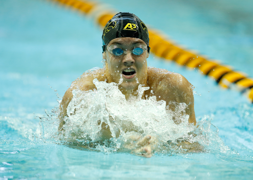 Daniel Swanepoel competes in the 200 yard breaststroke