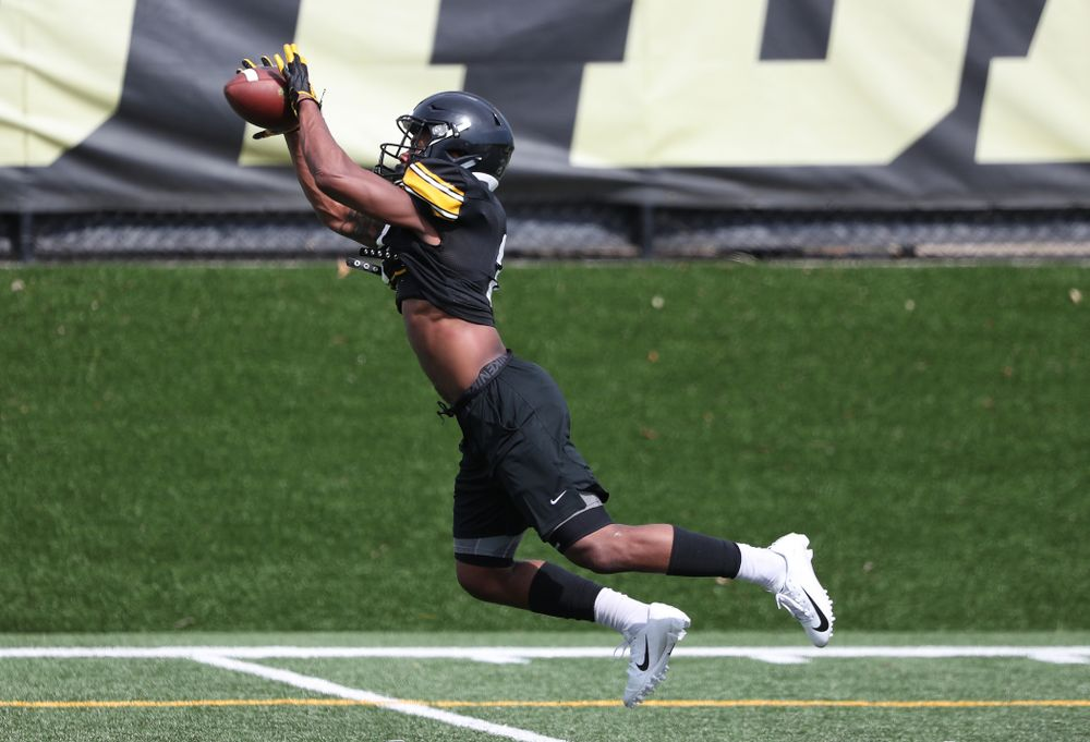 Iowa Hawkeyes wide receiver Tyrone Tracy Jr. (3) during Fall Camp Practice No. 4 Monday, August 5, 2019 at the Ronald D. and Margaret L. Kenyon Football Practice Facility. (Brian Ray/hawkeyesports.com)