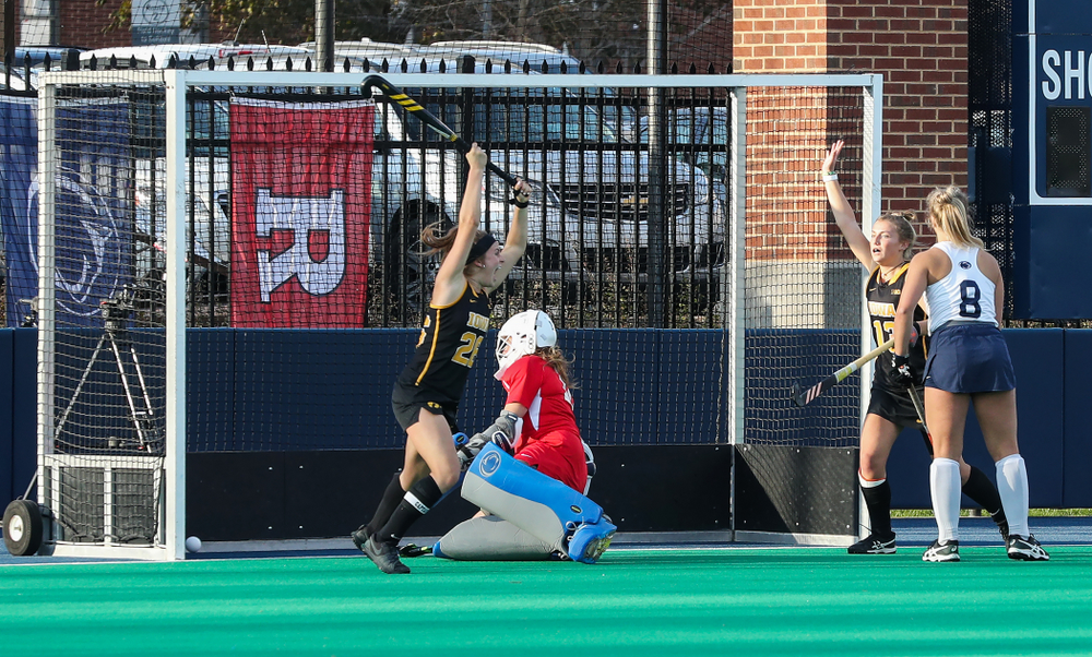 Iowa Hawkeyes forward Maddy Murphy (26) scores the game winning goal in their 1-0 overtime victory over Penn State to win the 2019 Big Ten Field Hockey Tournament Sunday, November 10, 2019 at Penn State (Brian Ray/hawkeyesports.com)