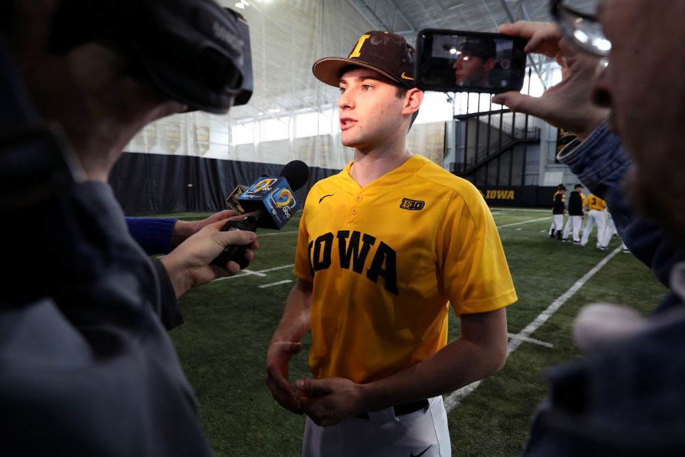 Iowa Hawkeyes outfielder Ben Norman (9) answers questions during their annual media day Thursday, February 6, 2020 at the Indoor Practice Facility. (Brian Ray/hawkeyesports.com)