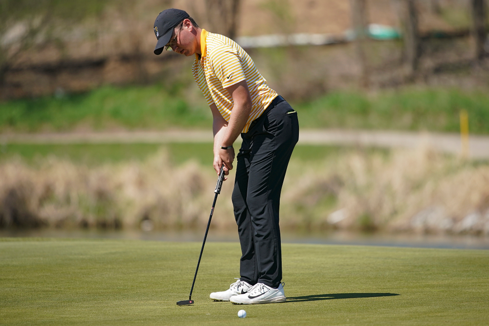 Iowa's Matthew Walker putts during the third round of the Hawkeye Invitational at Finkbine Golf Course in Iowa City on Sunday, Apr. 21, 2019. (Stephen Mally/hawkeyesports.com)