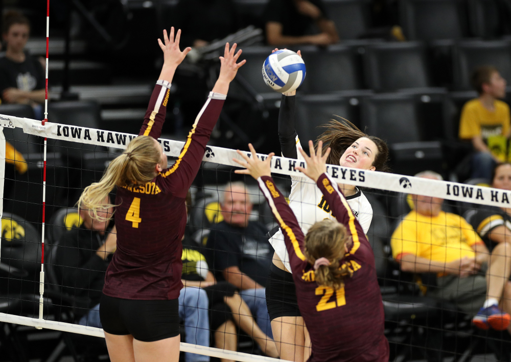 Iowa Hawkeyes outside hitter Edina Schmidt (20 against the Minnesota Golden Gophers Wednesday, October 2, 2019 at Carver-Hawkeye Arena. (Brian Ray/hawkeyesports.com)