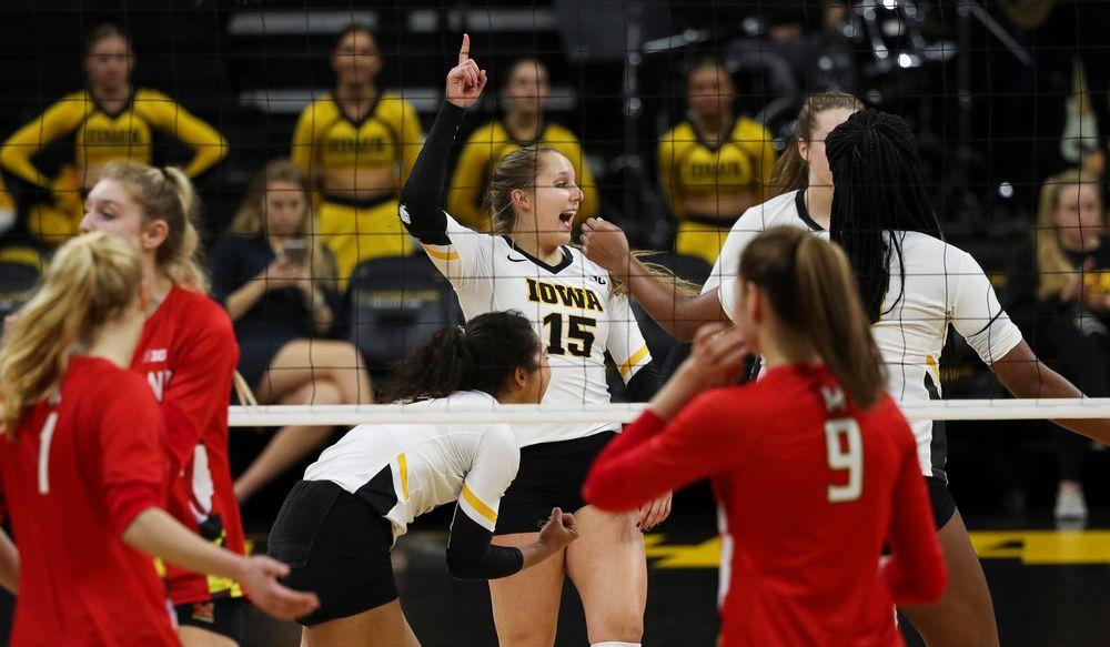 Iowa Hawkeyes defensive specialist Maddie Slagle (15) celebrates after winning a point during a match against Maryland at Carver-Hawkeye Arena on November 23, 2018. (Tork Mason/hawkeyesports.com)