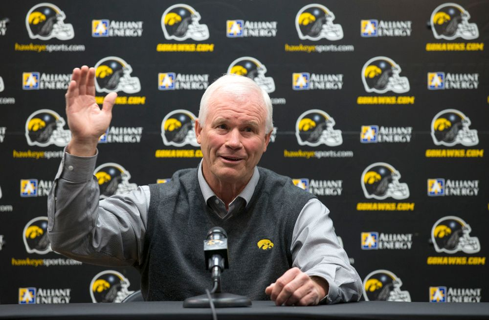 Iowa Hawkeyes defensive line coach Reese Morgan answers questions during a media avaliblity Wednesday, April 16, 2014 at the Hayden Fry Football Complex in Iowa City.  (Brian Ray/hawkeyesports.com)