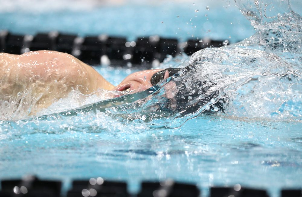 Iowa's Michael Tenney swims the 500-yard freestyle during the bonus finals of the second day at the 2019 Big Ten Swimming and Diving Championships Thursday, February 28, 2019 at the Campus Wellness and Recreation Center. (Brian Ray/hawkeyesports.com)