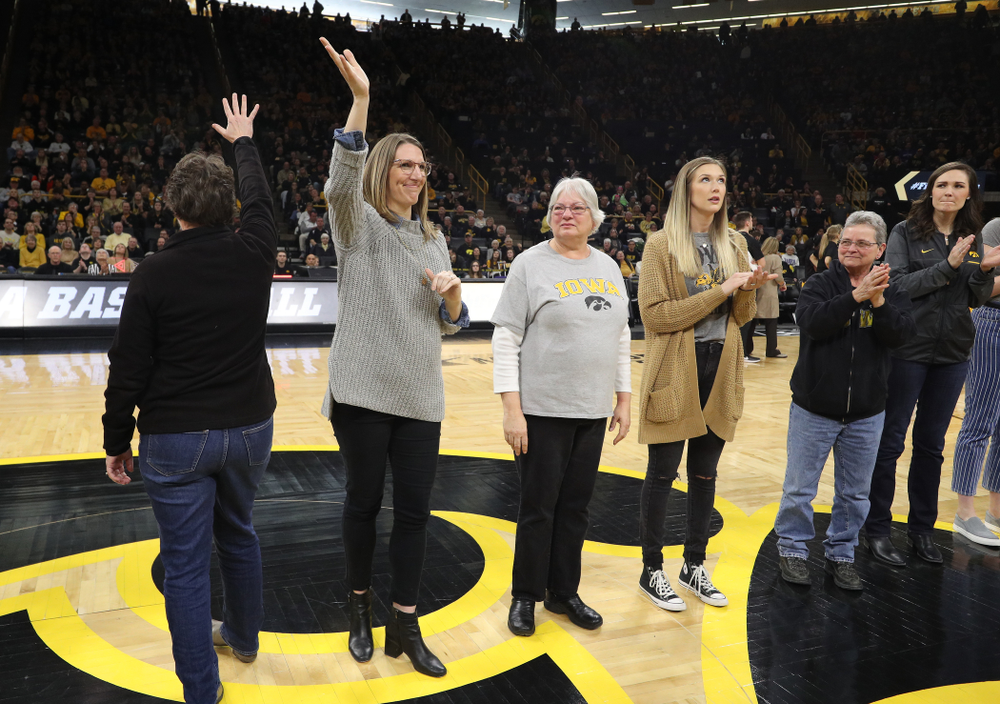 Former players are introduced during the Iowa Hawkeyes game against the Northwestern Wildcats Sunday, March 3, 2019 at Carver-Hawkeye Arena. (Brian Ray/hawkeyesports.com)