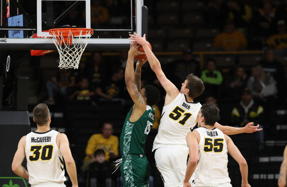 Iowa Hawkeyes forward Nicholas Baer (51) against UW Green Bay Sunday, November 11, 2018 at Carver-Hawkeye Arena. (Brian Ray/hawkeyesports.com)