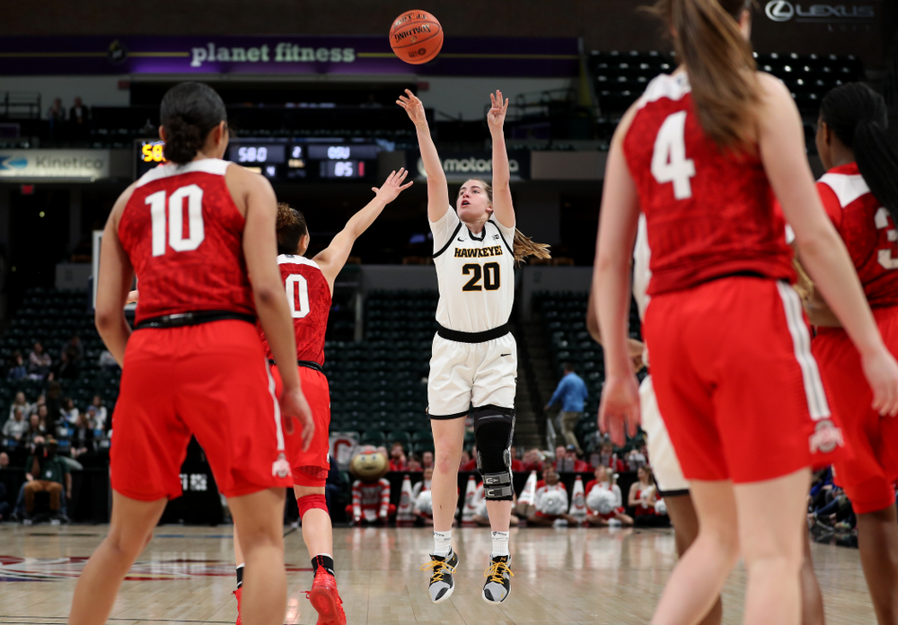 Iowa Hawkeyes guard Kate Martin (20) against Ohio State in the quarterfinals of the Big Ten Basketball Tournament Friday, March 6, 2020 at Bankers Life Fieldhouse in Indianapolis. (Brian Ray/hawkeyesports.com)