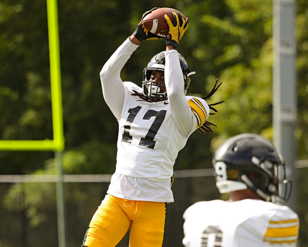 Iowa Hawkeyes defensive back Devonte Young (17) pulls in a pass in a drill during Fall Camp Practice No. 11 at the Hansen Football Performance Center in Iowa City on Wednesday, Aug 14, 2019. (Stephen Mally/hawkeyesports.com)