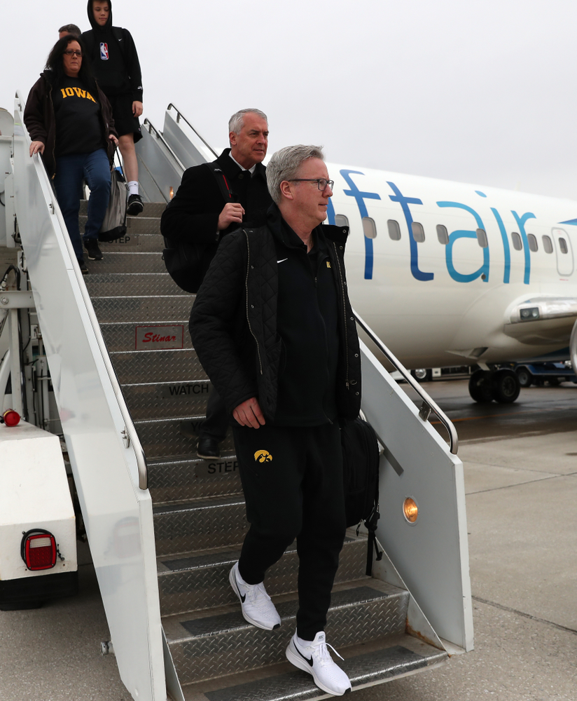 Iowa Hawkeyes head coach Fran McCaffery arrives in Columbus for the first and second rounds of the 2019 NCAA Men's Basketball Tournament Wednesday, March 20, 2019. (Brian Ray/hawkeyesports.com)