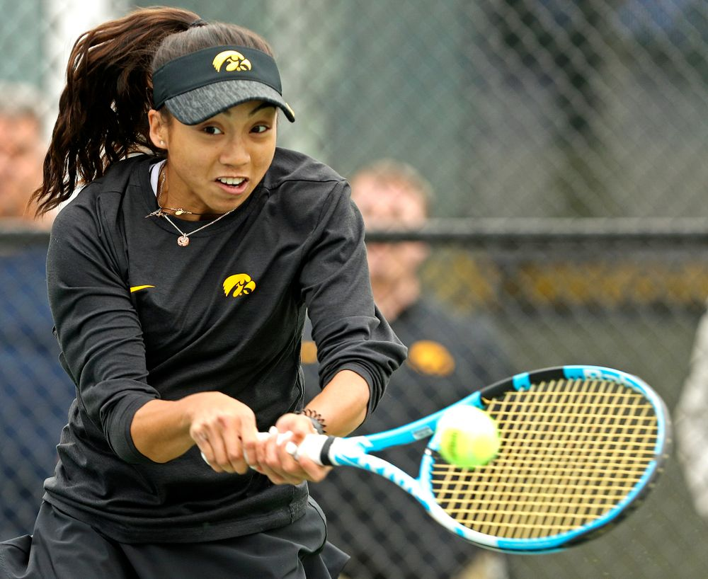 Iowa's Michelle Bacalla during a match against Rutgers at the Hawkeye Tennis and Recreation Complex in Iowa City on Friday, Apr. 5, 2019. (Stephen Mally/hawkeyesports.com)