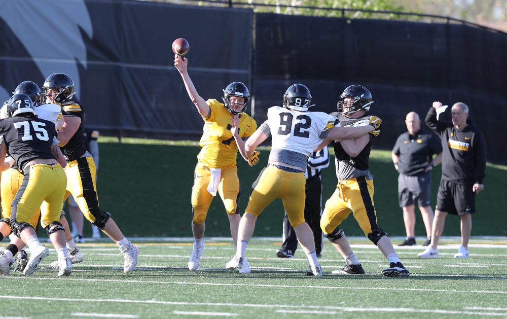 Iowa Hawkeyes quarterback Spencer Petras (7) during the teamÕs final spring practice Friday, April 26, 2019 at the Kenyon Football Practice Facility. (Brian Ray/hawkeyesports.com)