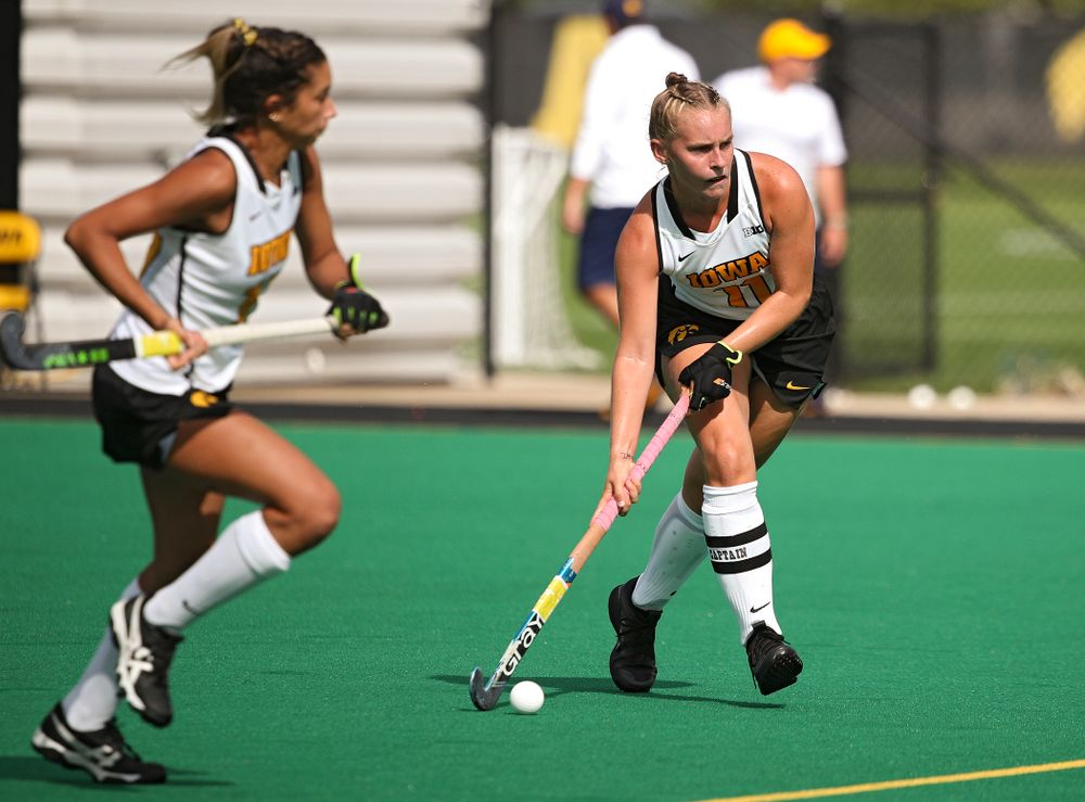 Iowa's Katie Birch (11) lines up a shot during the second quarter of their game at Grant Field in Iowa City on Friday, Sep 13, 2019. (Stephen Mally/hawkeyesports.com)