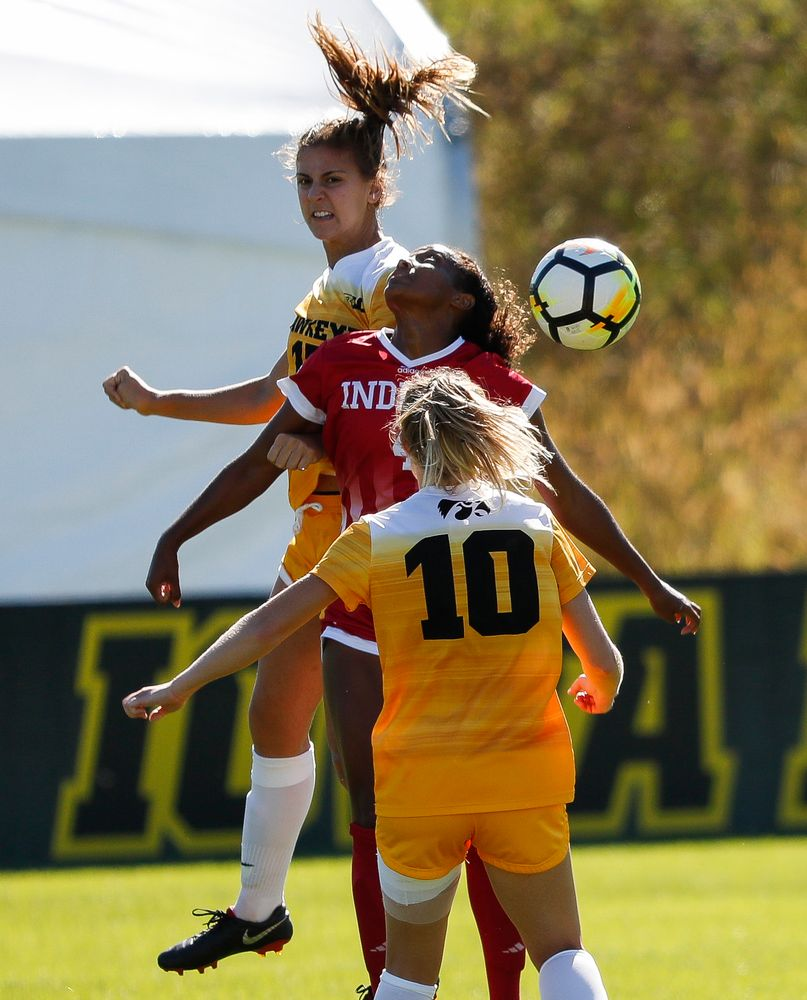 Iowa Hawkeyes defender Hannah Drkulec (17) heads the ball during a game against Indiana at the Iowa Soccer Complex on September 23, 2018. (Tork Mason/hawkeyesports.com)