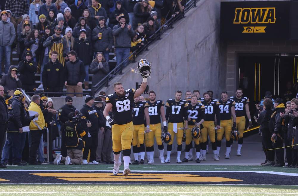 Iowa Hawkeyes offensive lineman Landan Paulsen (68) during Senior Day festivities before their game against the Illinois Fighting Illini Saturday, November 23, 2019 at Kinnick Stadium. (Brian Ray/hawkeyesports.com)