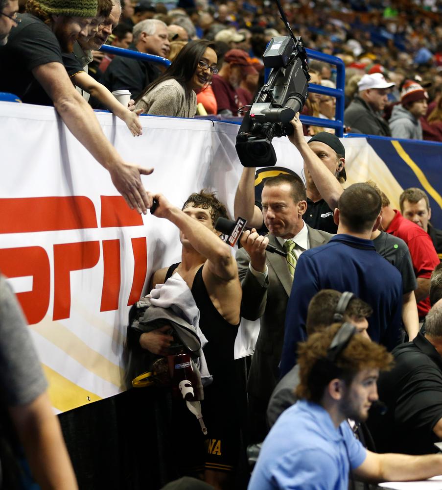 Thomas Gilman greets a fan