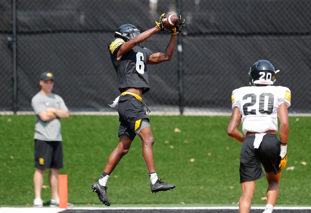 Iowa Hawkeyes wide receiver Ihmir Smith-Marsette (6) during fall camp practice No. 9 Friday, August 10, 2018 at the Kenyon Practice Facility. (Brian Ray/hawkeyesports.com)