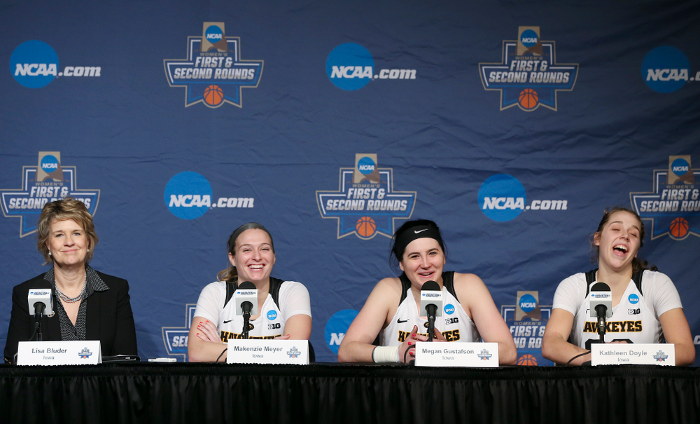 Iowa Hawkeyes head coach Lisa Bluder, guard Makenzie Meyer (3), center Megan Gustafson (10), and guard Kathleen Doyle (22) during a press conference after winning their second round game in the 2019 NCAA Women's Basketball Tournament at Carver Hawkeye Arena in Iowa City on Sunday, Mar. 24, 2019. (Stephen Mally for hawkeyesports.com)