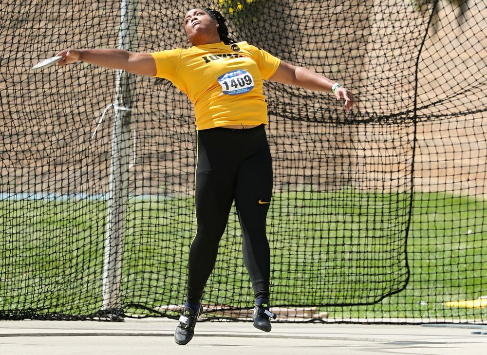 Iowa's Laulauga Tausaga throws in the women's discus event during the second day of the Drake Relays at Drake Stadium in Des Moines on Friday, Apr. 26, 2019. (Stephen Mally/hawkeyesports.com)