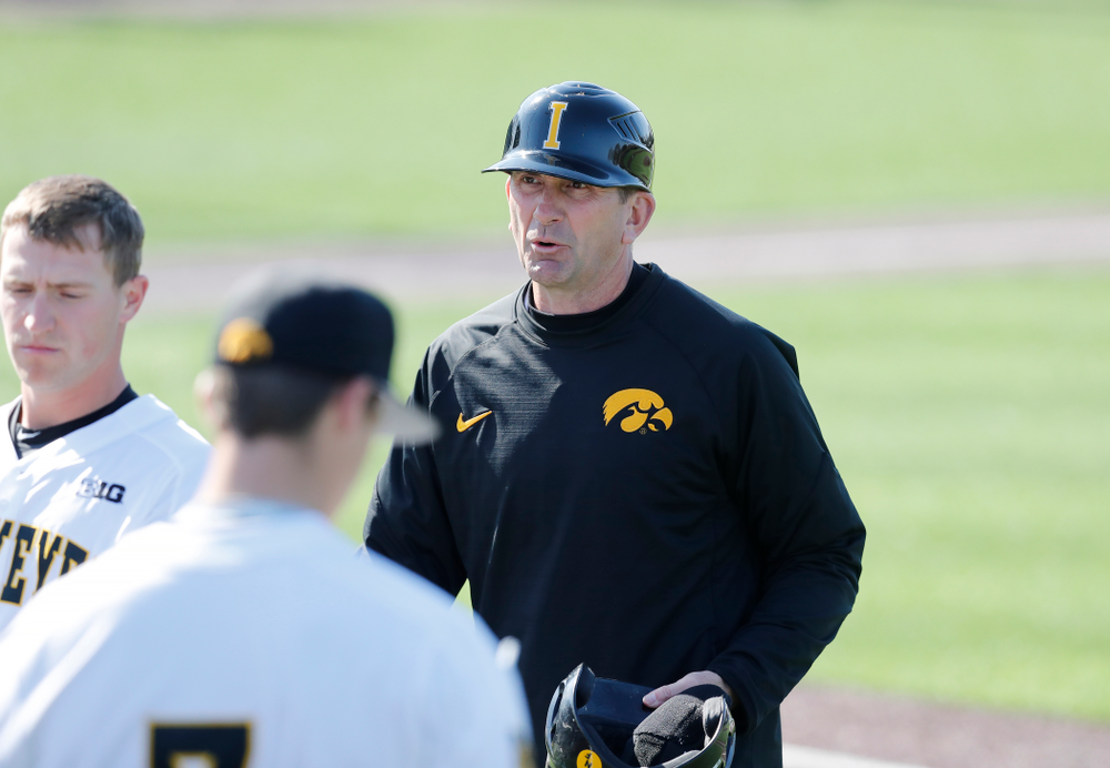 Iowa Hawkeyes head coach Rick Heller against Northern Illinois Tuesday, April 17, 2018 at Duane Banks Field. (Brian Ray/hawkeyesports.com)