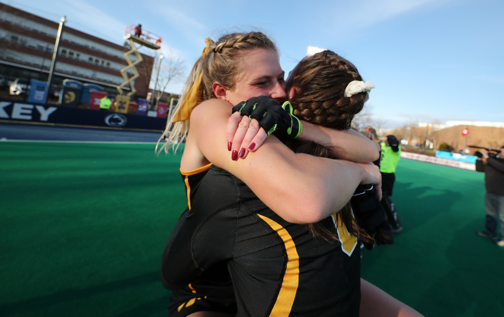 Iowa Hawkeyes Ellie Holley (7) and defenseman Anthe Nijziel (6) celebrate their victory over  Penn State in the 2019 Big Ten Field Hockey Tournament Championship Game Sunday, November 10, 2019 in State College. (Brian Ray/hawkeyesports.com)