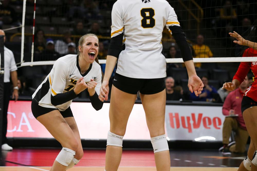 Iowa Hawkeyes middle blocker Hannah Clayton (18) during Iowa volleyball vs Maryland on Saturday, November 30, 2019 at Carver-Hawkeye Arena. (Lily Smith/hawkeyesports.com)