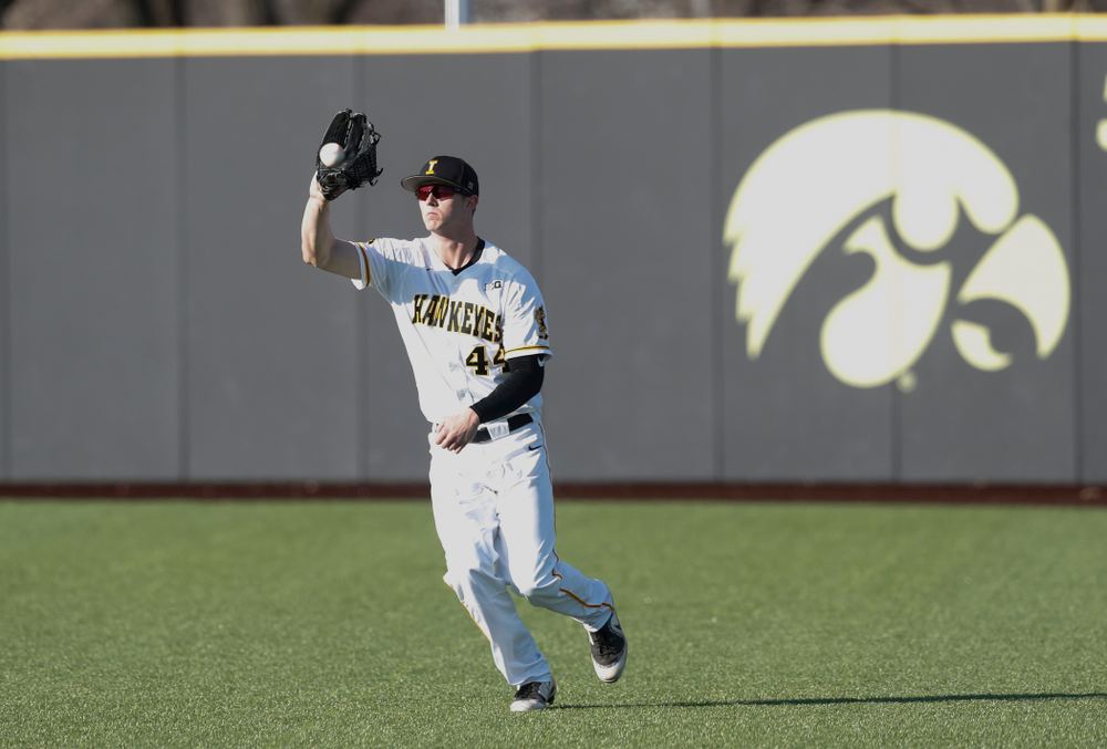 Iowa Hawkeyes outfielder Robert Neustrom (44) against Northern Illinois Tuesday, April 17, 2018 at Duane Banks Field. (Brian Ray/hawkeyesports.com)
