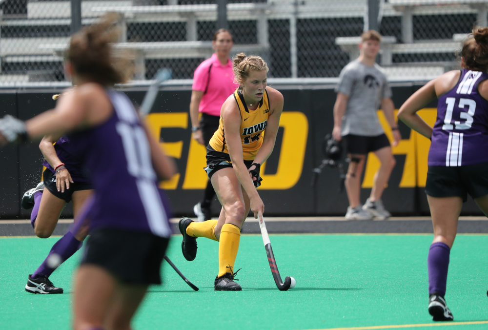 Iowa Hawkeyes Lokke Stribos (14) during an exhibition game against Northwestern Saturday, August 24, 2019 at Grant Field. (Brian Ray/hawkeyesports.com)