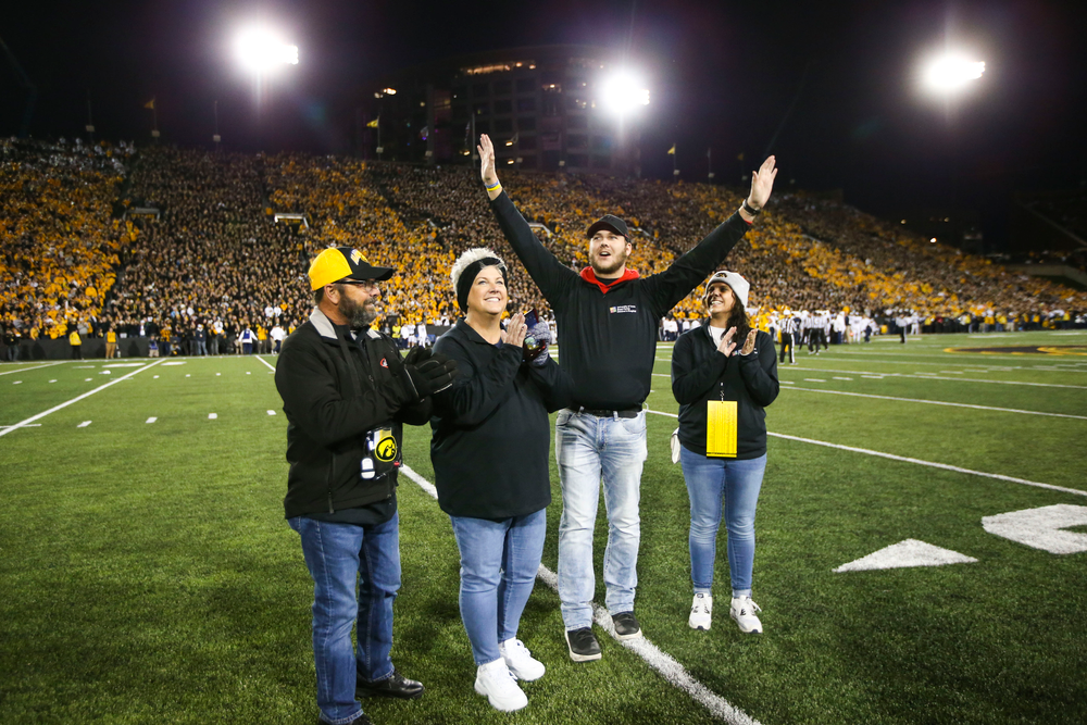 Carson King waves to fans during Iowa football vs Penn State on Saturday, October 12, 2019 at Kinnick Stadium. (Lily Smith/hawkeyesports.com)