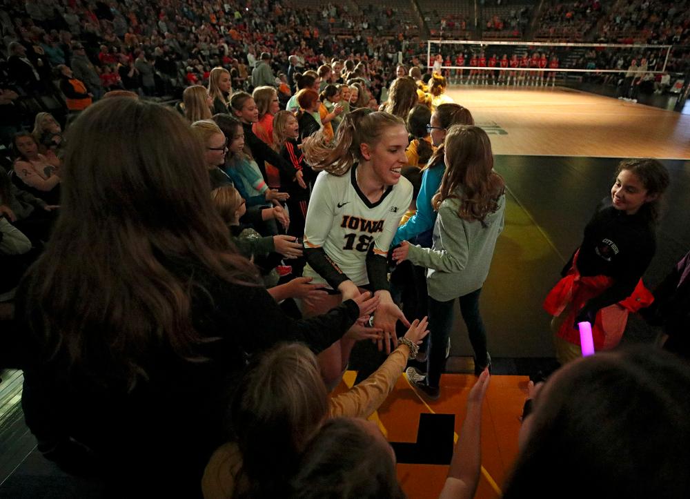 Iowa's Hannah Clayton (18) is introduced before their match against Nebraska at Carver-Hawkeye Arena in Iowa City on Saturday, Nov 9, 2019. (Stephen Mally/hawkeyesports.com)