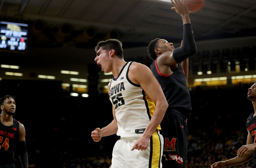 Iowa Hawkeyes forward Luka Garza (55) reacts after a basket against the Maryland Terrapins Friday, January 10, 2020 at Carver-Hawkeye Arena. (Brian Ray/hawkeyesports.com)