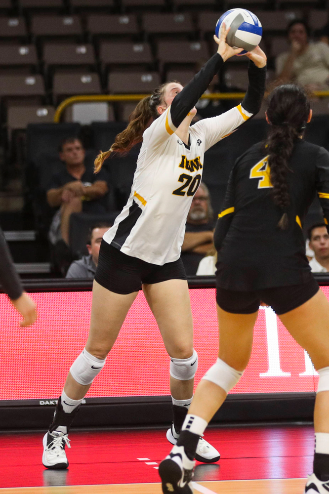 Iowa Hawkeyes outside hitter Edina Schmidt (20) against Coastal Carolina Friday, September 20, 2019 at Carver-Hawkeye Arena. (Lily Smith/hawkeyesports.com)