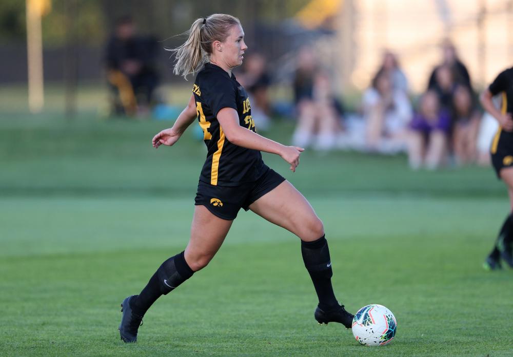 Iowa Hawkeyes defender Sara Wheaton (24) against Western Michigan Thursday, August 22, 2019 at the Iowa Soccer Complex. (Brian Ray/hawkeyesports.com)