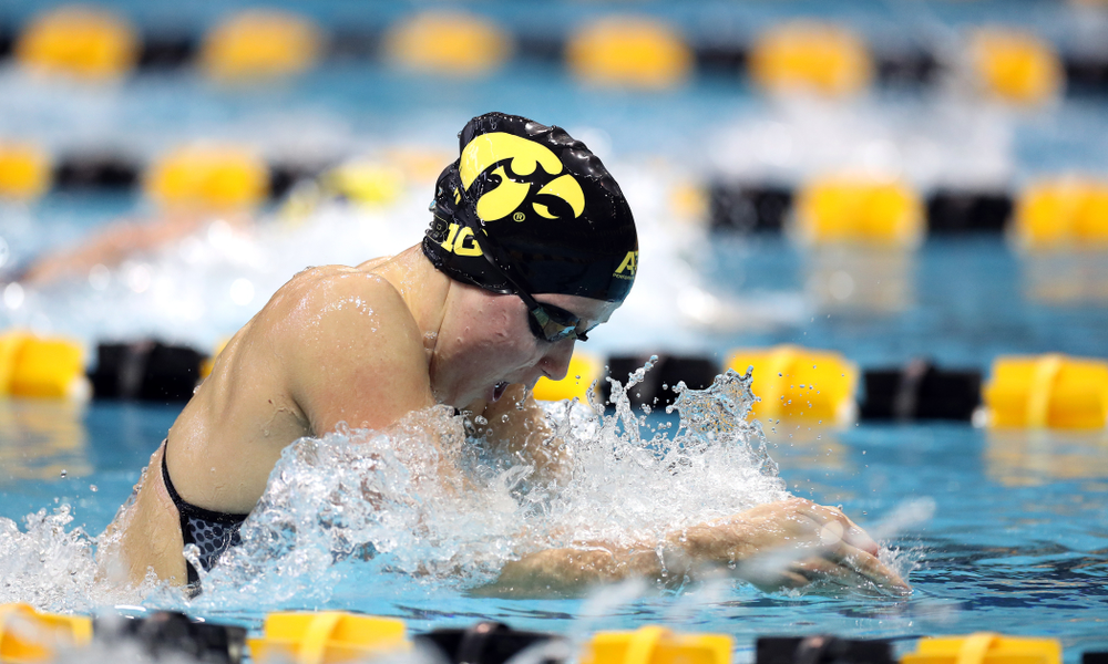IowaÕs Aleksandra Olesiak swims the 200 yard breaststroke against the Michigan Wolverines Friday, November 1, 2019 at the Campus Recreation and Wellness Center. (Brian Ray/hawkeyesports.com)