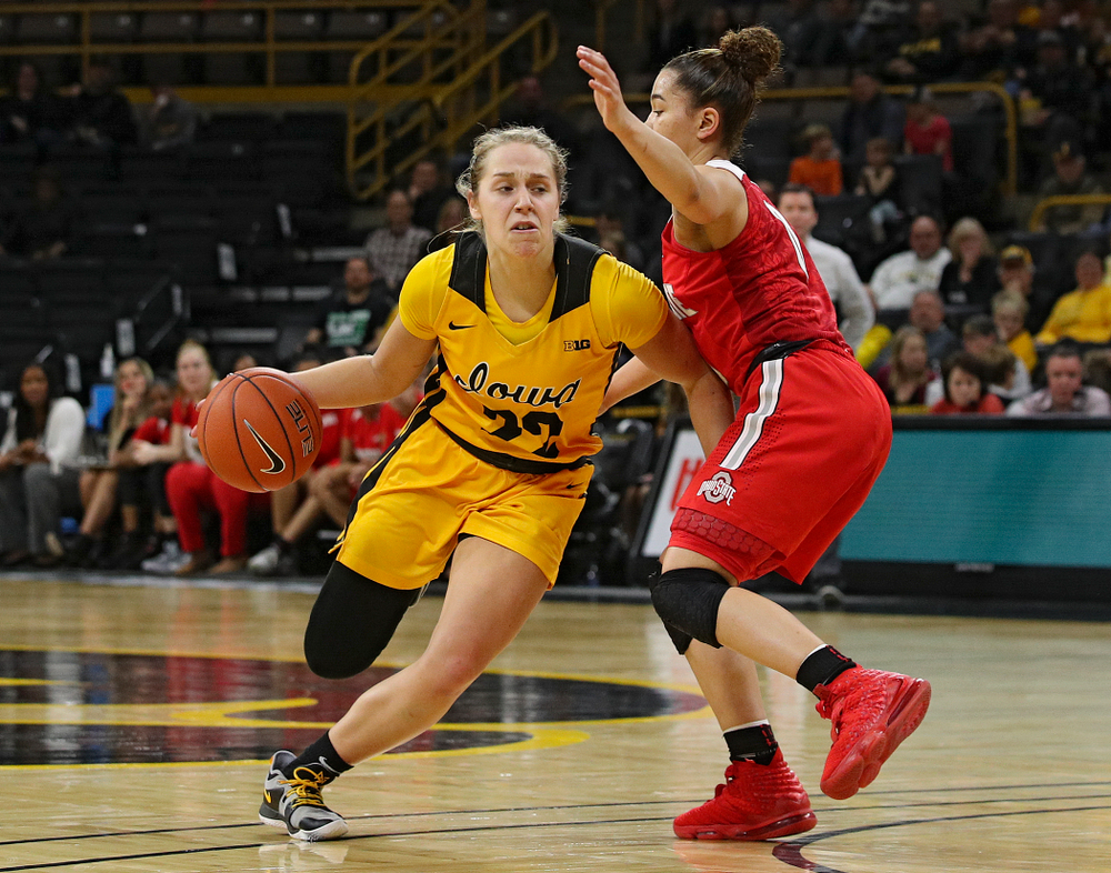 Iowa Hawkeyes guard Kathleen Doyle (22) drives with the ball during the third quarter of their game at Carver-Hawkeye Arena in Iowa City on Thursday, January 23, 2020. (Stephen Mally/hawkeyesports.com)