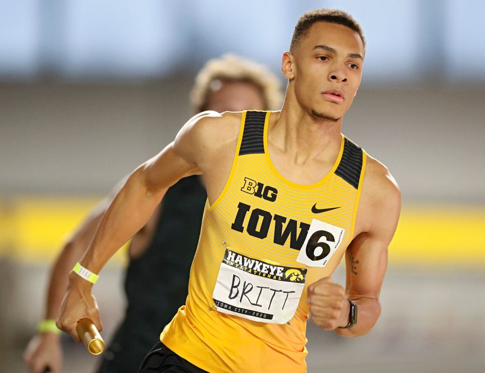 Iowa's Jamal Britt runs the men's 1600 meter relay event during the Hawkeye Invitational at the Recreation Building in Iowa City on Saturday, January 11, 2020. (Stephen Mally/hawkeyesports.com)