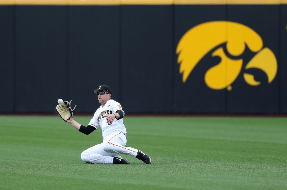 Iowa Hawkeyes Zeb Adreon (5) against Michigan State Sunday, May 12, 2019 at Duane Banks Field. (Brian Ray/hawkeyesports.com)