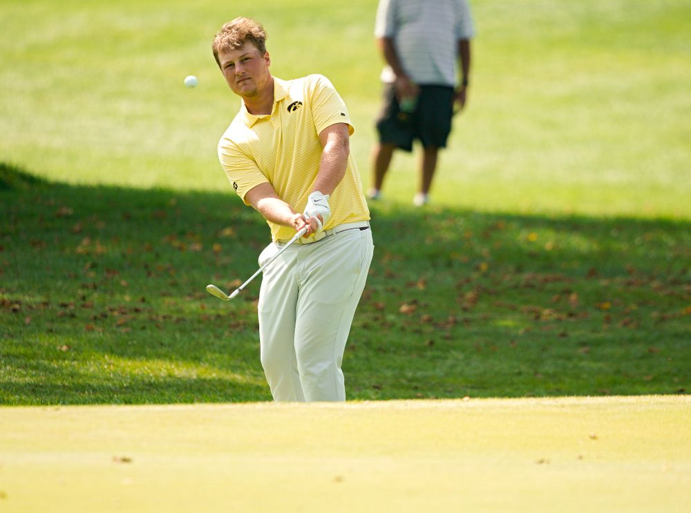 Iowa's Alex Schaake chips onto the green during the third day of the Golfweek Conference Challenge at the Cedar Rapids Country Club in Cedar Rapids on Tuesday, Sep 17, 2019. (Stephen Mally/hawkeyesports.com)