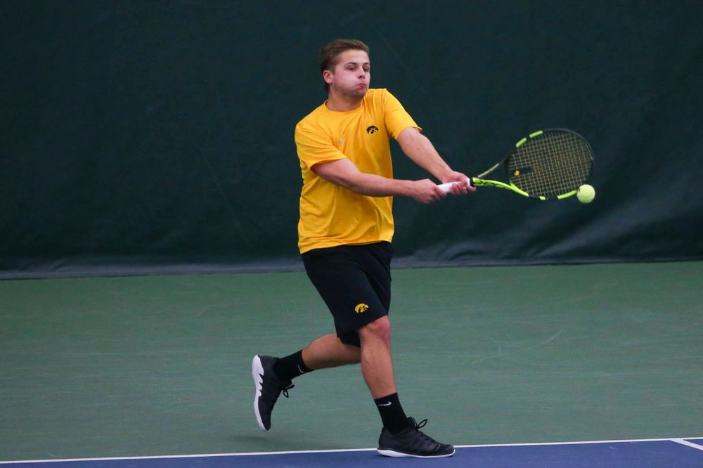 Iowa's Will Davies at a tennis match vs Drake  Friday, March 8, 2019 at the Hawkeye Tennis and Recreation Complex. (Lily Smith/hawkeyesports.com)