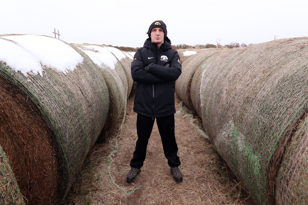 All American Kaleb Young poses for a photo during the teamÕs annual media day Wednesday, October 30, 2019 at Kroul Family Farms in Mount Vernon. (Brian Ray/hawkeyesports.com)