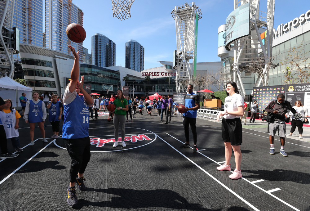 Iowa Hawkeyes forward Megan Gustafson (10) during a Special Olympics event Friday, April 12, 2019 as part of the ESPN College Basketball Awards in the XBOX Plaza at LA Live.  (Brian Ray/hawkeyesports.com)