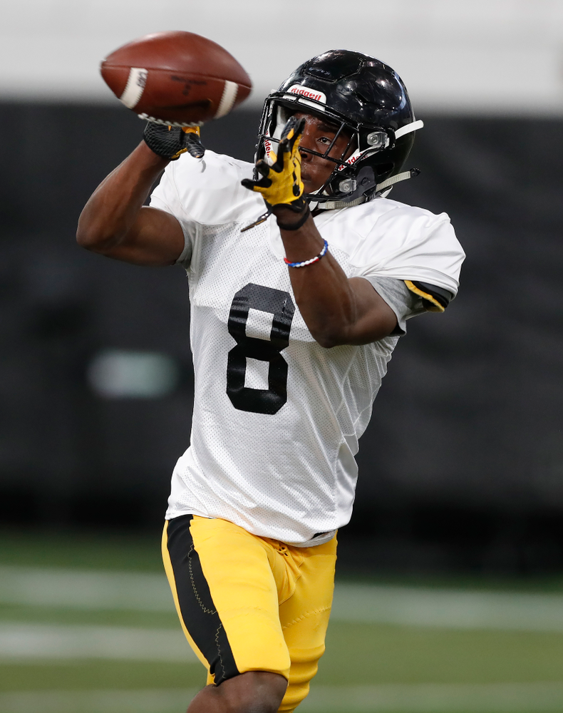 Iowa Hawkeyes defensive back Matt Hankins (8) during spring practice Wednesday, March 28, 2018 at the Hansen Football Performance Center.  (Brian Ray/hawkeyesports.com)
