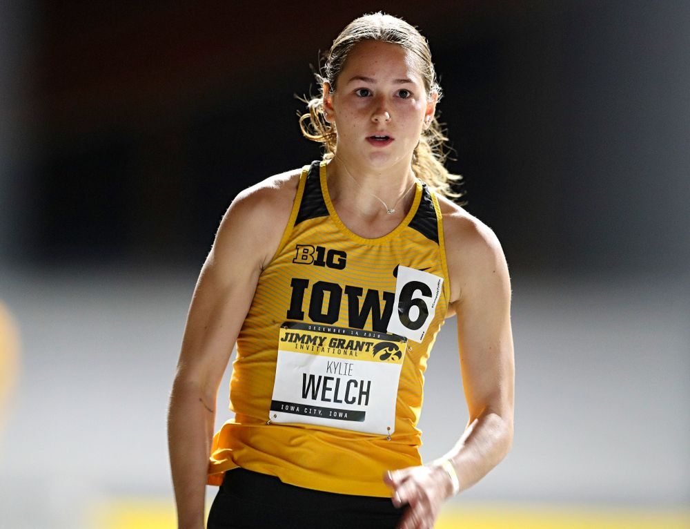 Iowa's Kylie Welch runs the women's 300 meter invitational event during the Jimmy Grant Invitational at the Recreation Building in Iowa City on Saturday, December 14, 2019. (Stephen Mally/hawkeyesports.com)