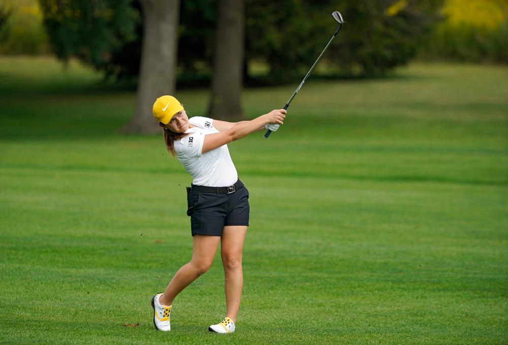 Iowa's Manuela Lizarazu hits from the fairway during their dual against Northern Iowa at Pheasant Ridge Golf Course in Cedar Falls on Monday, Sep 2, 2019. (Stephen Mally/hawkeyesports.com)