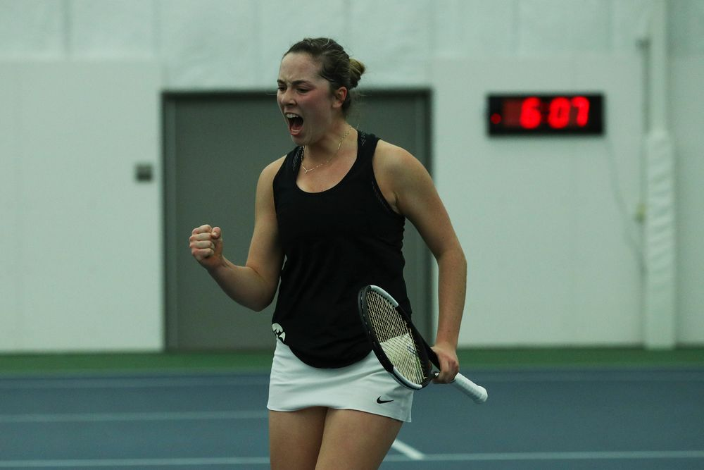 Iowa's Samantha Mannix celebrates a point during the Iowa women's tennis meet vs DePaul  on Friday, February 21, 2020 at the Hawkeye Tennis and Recreation Complex. (Lily Smith/hawkeyesports.com)