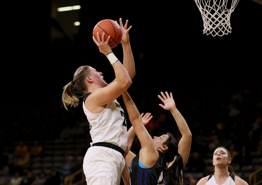 Iowa Hawkeyes forward/center Monika Czinano (25) against Dakota Wesleyan University Tuesday, November 6, 2018 at Carver-Hawkeye Arena. (Brian Ray/hawkeyesports.com)